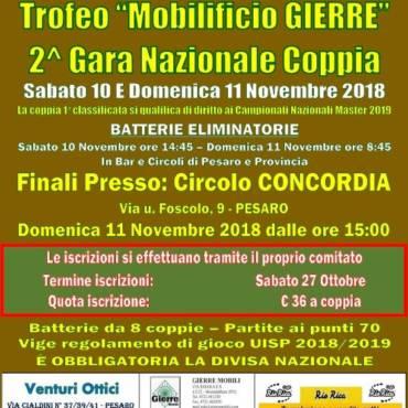 """2^ Gara nazionale Coppia – Trofeo """"Mobilificio Cierre"""""""