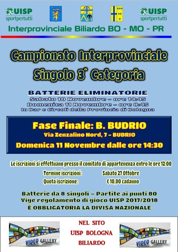 Campionato interprovinciale singolo 3^categoria