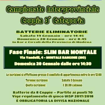 Campionato Interprovinciale Coppia 3^ Categoria